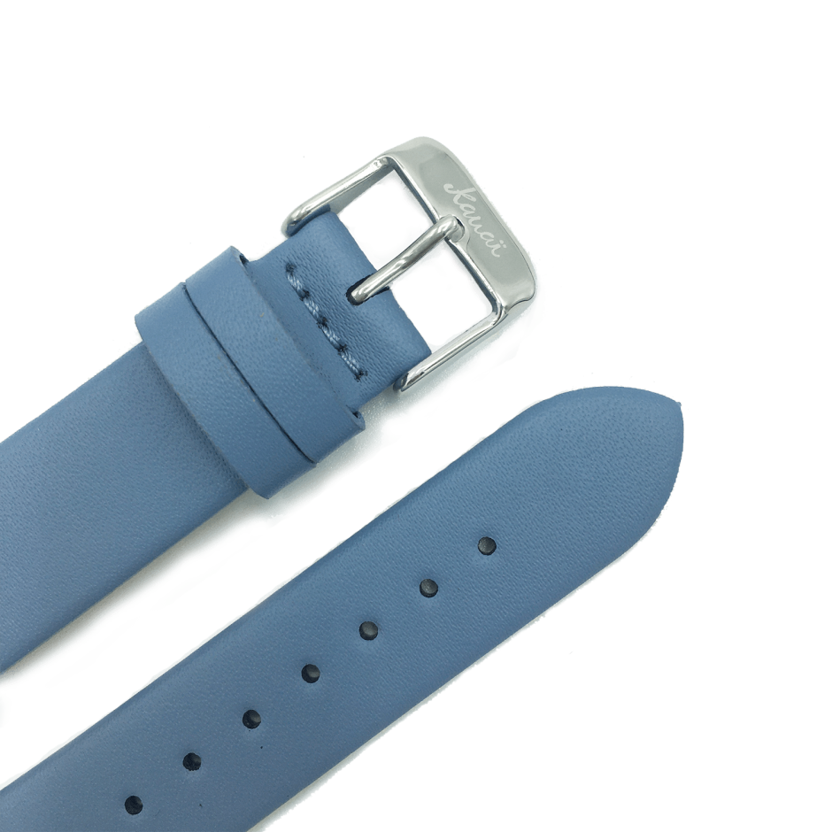 Light blue leather strap - stainless buckle