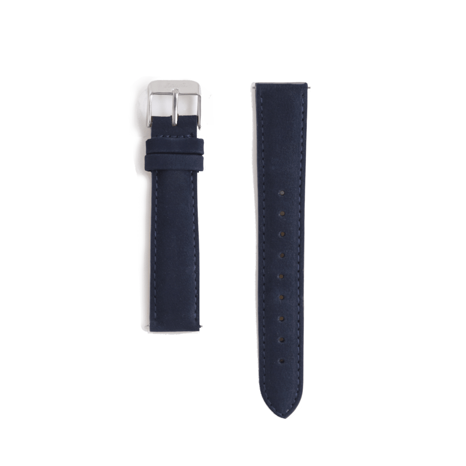 Navy leather strap - steel buckle
