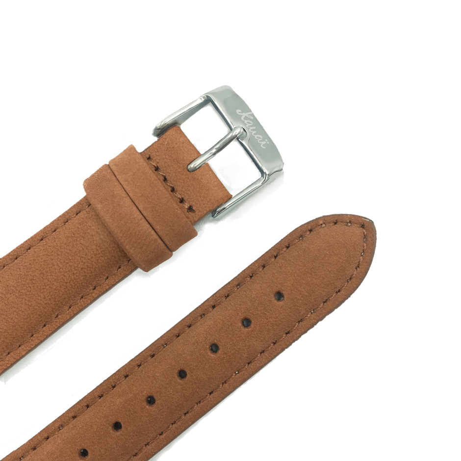 Brown leather strap - rose gold buckle