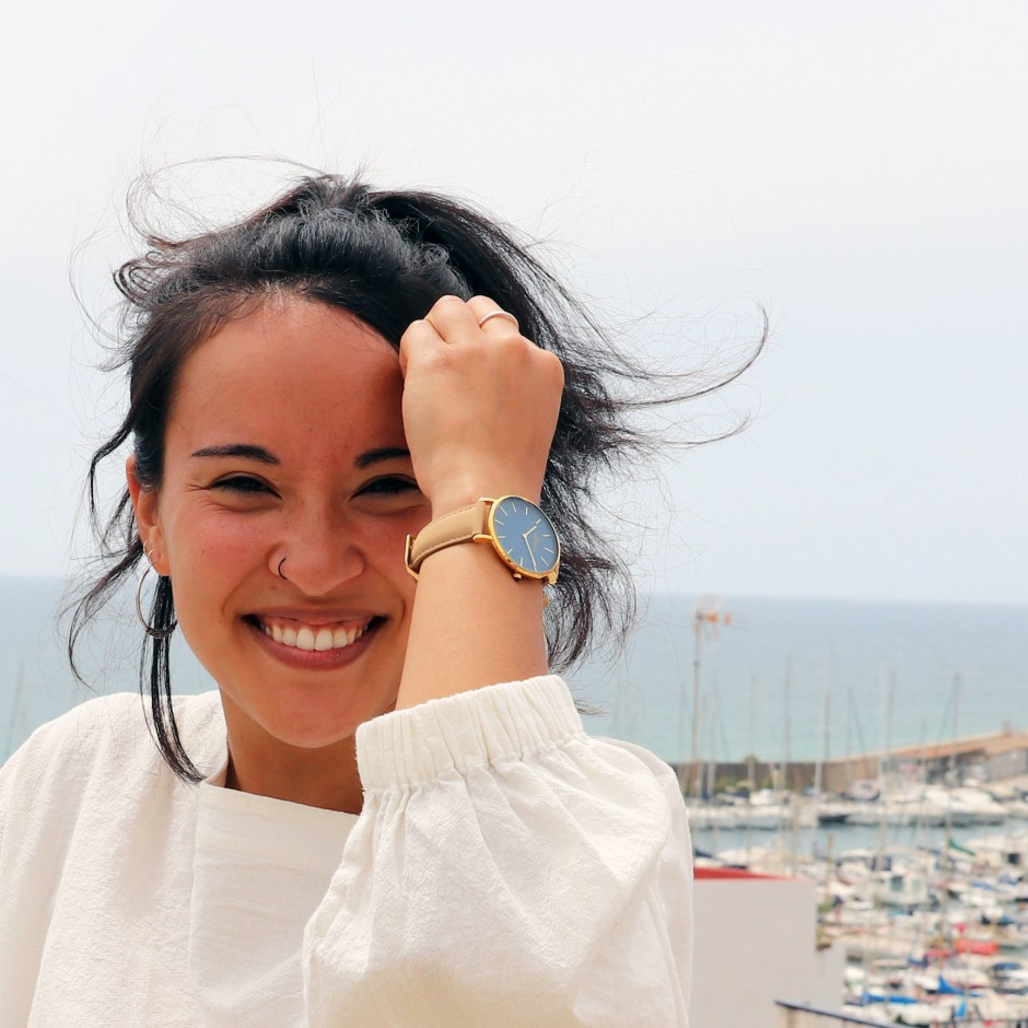 Blue and beige watch