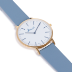 Light blue watch white dial